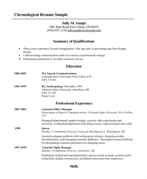 chronological order resume template chronological resume template sle format for