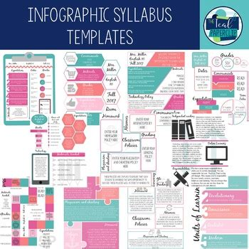 Infographic Creative Syllabus Templates By The Teal Paperclip Tpt Infographic Syllabus Template Free