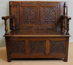 monks settle bench antique oak monks bench settle hall chair antiques atlas