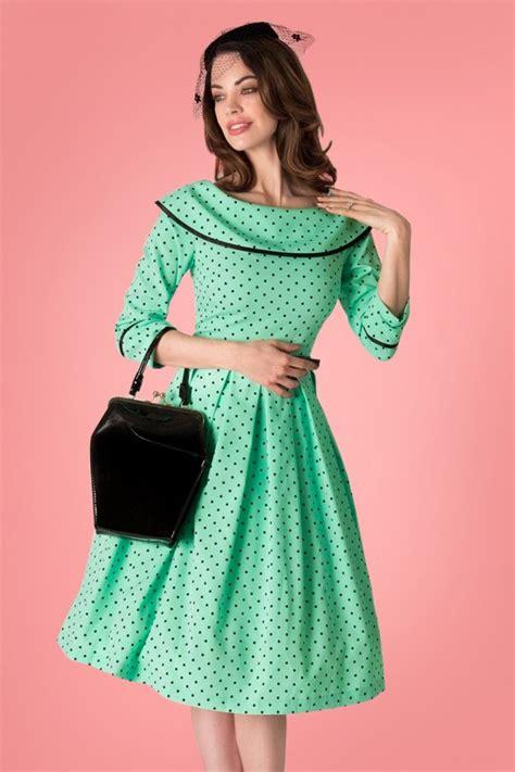 Baju Retro Polkadot 50s coffee polkadot swing dress in mint