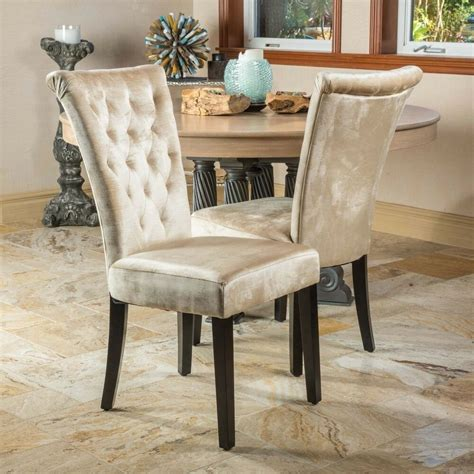 set   dining room champagne velvet dining chairs  tufted accents  ebay