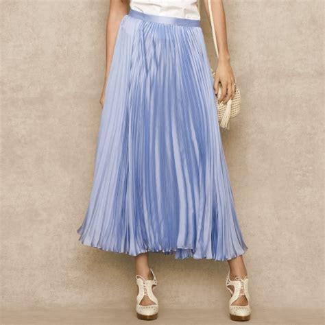 ralph blue label pleated silk chiffon skirt in blue
