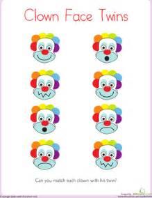 matching clown face twins worksheet education com