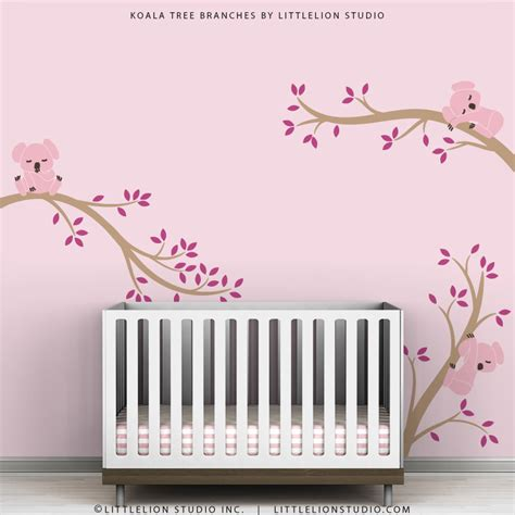 Pink Wall Decals For Nursery Pink Wall Decal Decor Baby Pink Nursery Tree Wall Decal