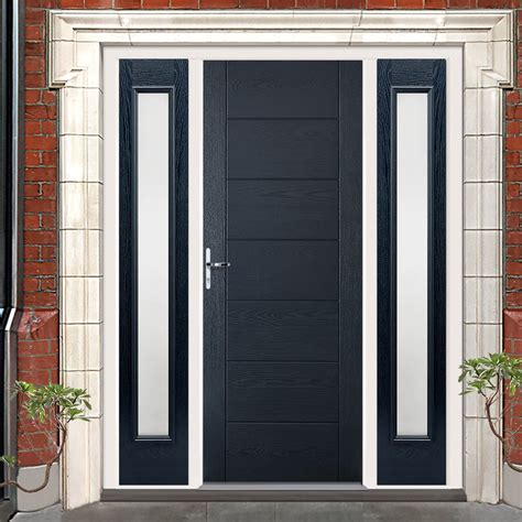 grp grey modica composite door  frosted sidelights