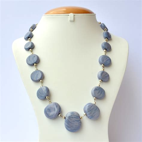 light blue beaded necklace handmade necklace with blue light blue blend