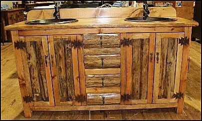 rustic log home bathroom cabin fever pinterest photo of two hammered copper sinks and price pfister