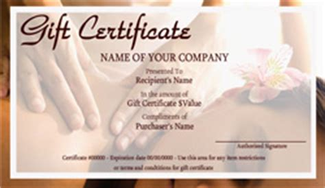 Massage Gift Card Template - printable massage gift certificates easy to use certificate templates