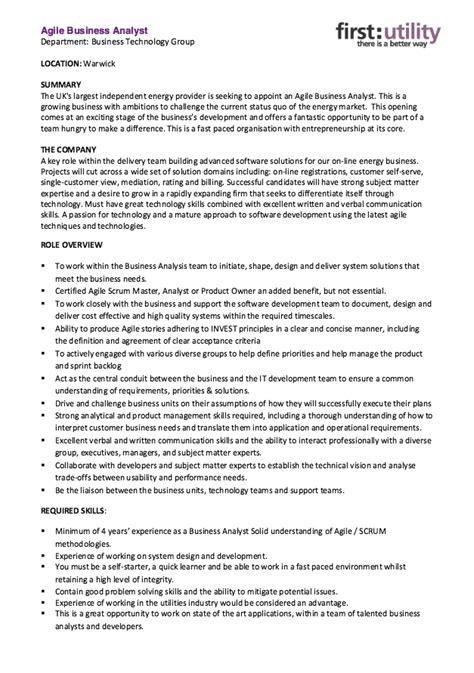 agile business analyst resume skills http