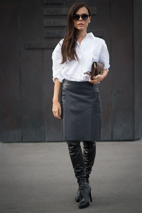 the knee boots black leather pencil skirt white