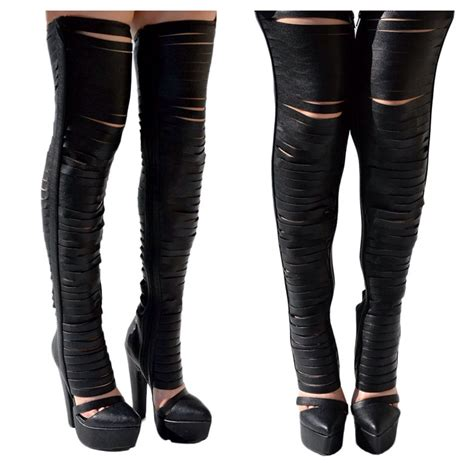 brand gashed thigh high boots heels platform black leather
