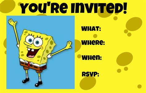 spongebob birthday invitations templates party