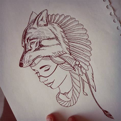 Native  Face And Wolf Head Tattoo Design On Paper