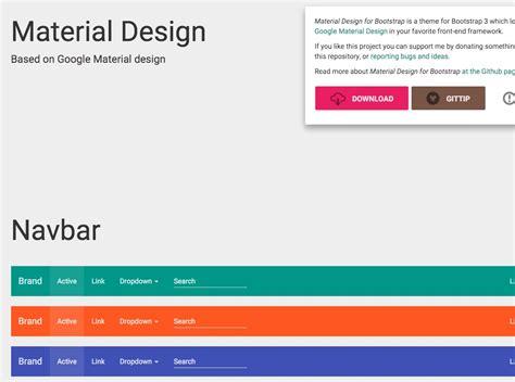 bootstrap themes material design material design for bootstrap portalzine nmn
