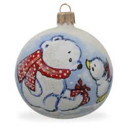 3 25 quot white polar bear and bird glass ball christmas