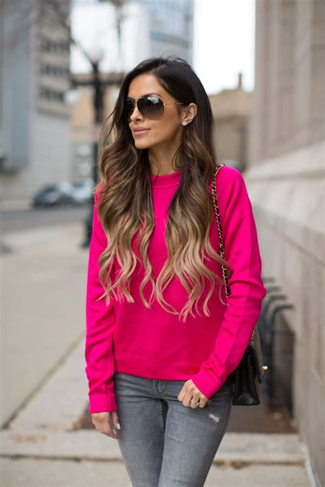 Pink Grid Casual Sweater 21423 pink mine