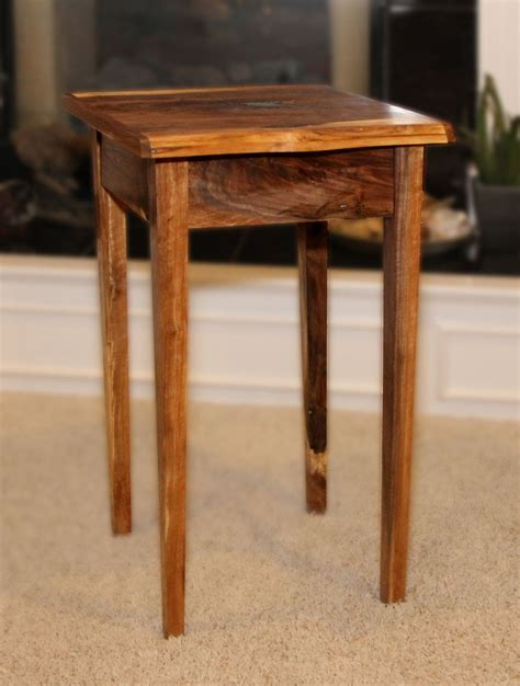 small walnut end table small end table with drawer live edges walnut handmade