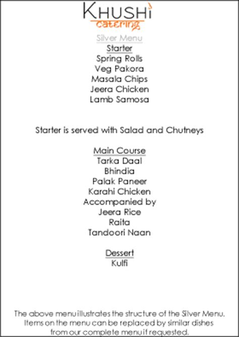 khushi catering our menus indian wedding catering