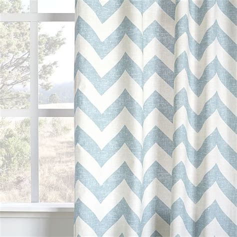West Elm Zigzag Curtain Inspiration Cotton Canvas Zigzag Printed Curtain Light Pool West Elm