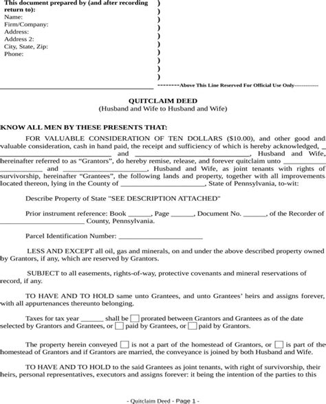 Download Pennsylvania Quitclaim Deed Form For Free Formtemplate Pennsylvania Deed Template