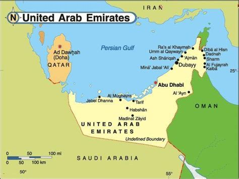united arab emirates map fanss study 3 middle east
