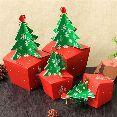 christmas  paper gift box candy box fit wedding party christmas tree pattern jewelry