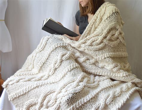 chunky cable knit throw blanket chunky wool blend knitted blanket throw blanket cable knit