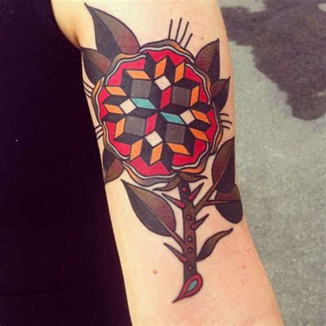 geometric tattoo with color colored flower geometric tattoo on half sleeve