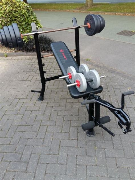weight bench with weights and bar marcy weights bench 10kg bar 52kg weights dumbbells