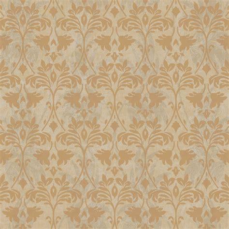 metallic gold and drybrush damask wallpaper