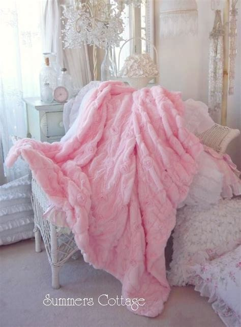 shabby baby pink fur satin ribbon ruffle roses chic throw
