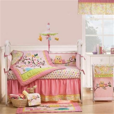 pink owl tree and forest animals baby nursery 8pc