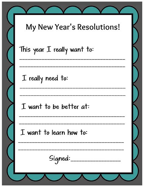new years resolution worksheet kid friendly new year s resolution printable
