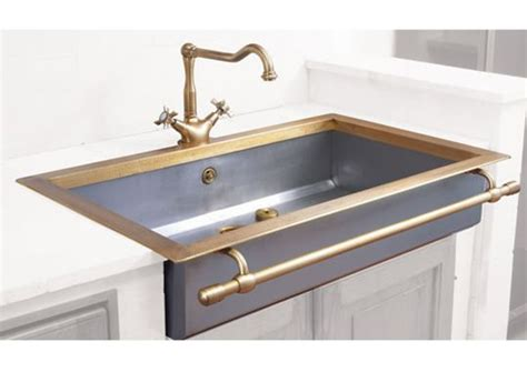 stainless steel apron sink with towel bar apron front sink with towel bar in satin stainless steel