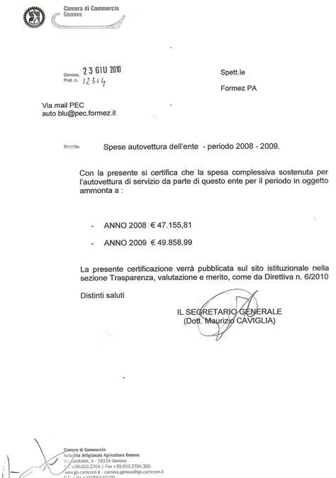 certificato di iscrizione alla di commercio di commercio di genova spese autovetture dell ente