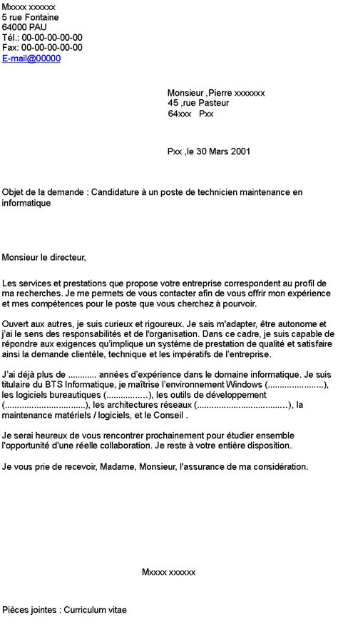 Lettre De Motivation Candidature Spontanée Technicien Maintenance Candidature 224 Un Poste De Technicien Maintenance En Informatique