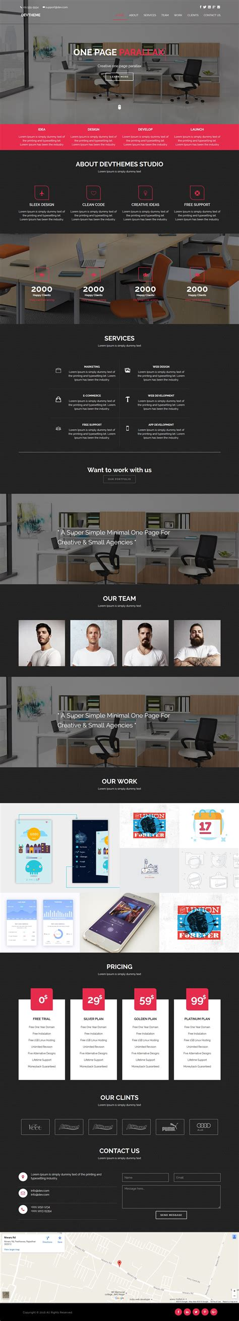 one page parallax html template devtheme one page parallax html template business html