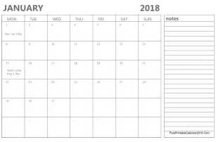 Calendar 2018 Printable With Notes January 2018 Calendar Templates