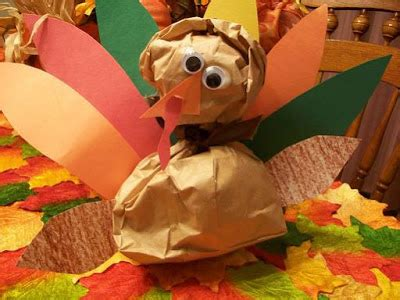 Paper Bag Turkey Craft - paper bag turkey munchkins and