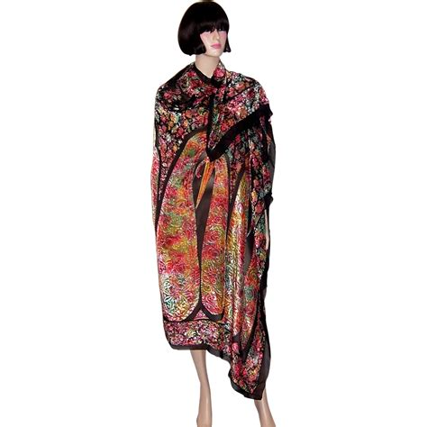 magnificent 1920 s cut silk velvet shawl in iridescent colors from patriciajonsfinest on ruby