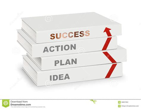 idea plans pile of books covered idea plan action success and arrow