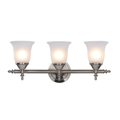 bell shaped l shades hton bay traditional 3 light brushed nickel vanity