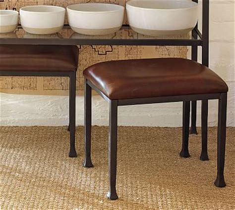 leather stool bronze finish pottery barn