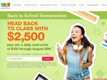 Back To School Sweepstakes 2015 - coupons com back to school sweepstakes sweepstakes fanatics