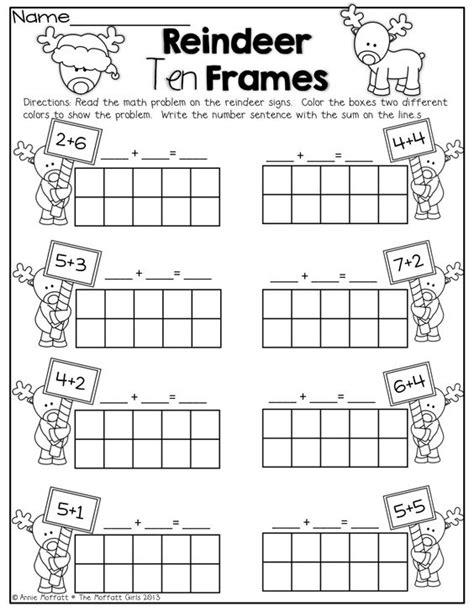 reindeer printables kindergarten reindeer ten frames simple math problems with ten frames