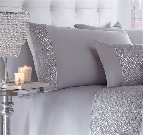 Machine Washable Duvet Luxury Sequin Diamante Duvet Quilt Cover Bedding Linen Set