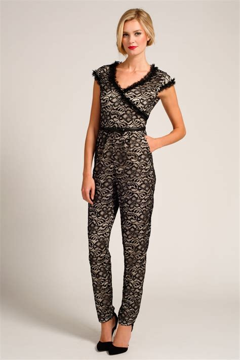 Lace V Neck Jumpsuit black lace overlay v neck jumpsuit