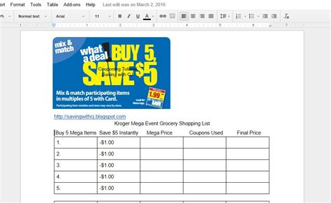 printable grocery list kroger saving money with cj attention all couponers krogers buy
