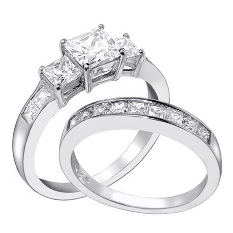 silver wedding ring sets for him and image collections