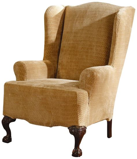 stretch wingback sofa slipcover sure fit stretch chair covers sure fit stretch pique